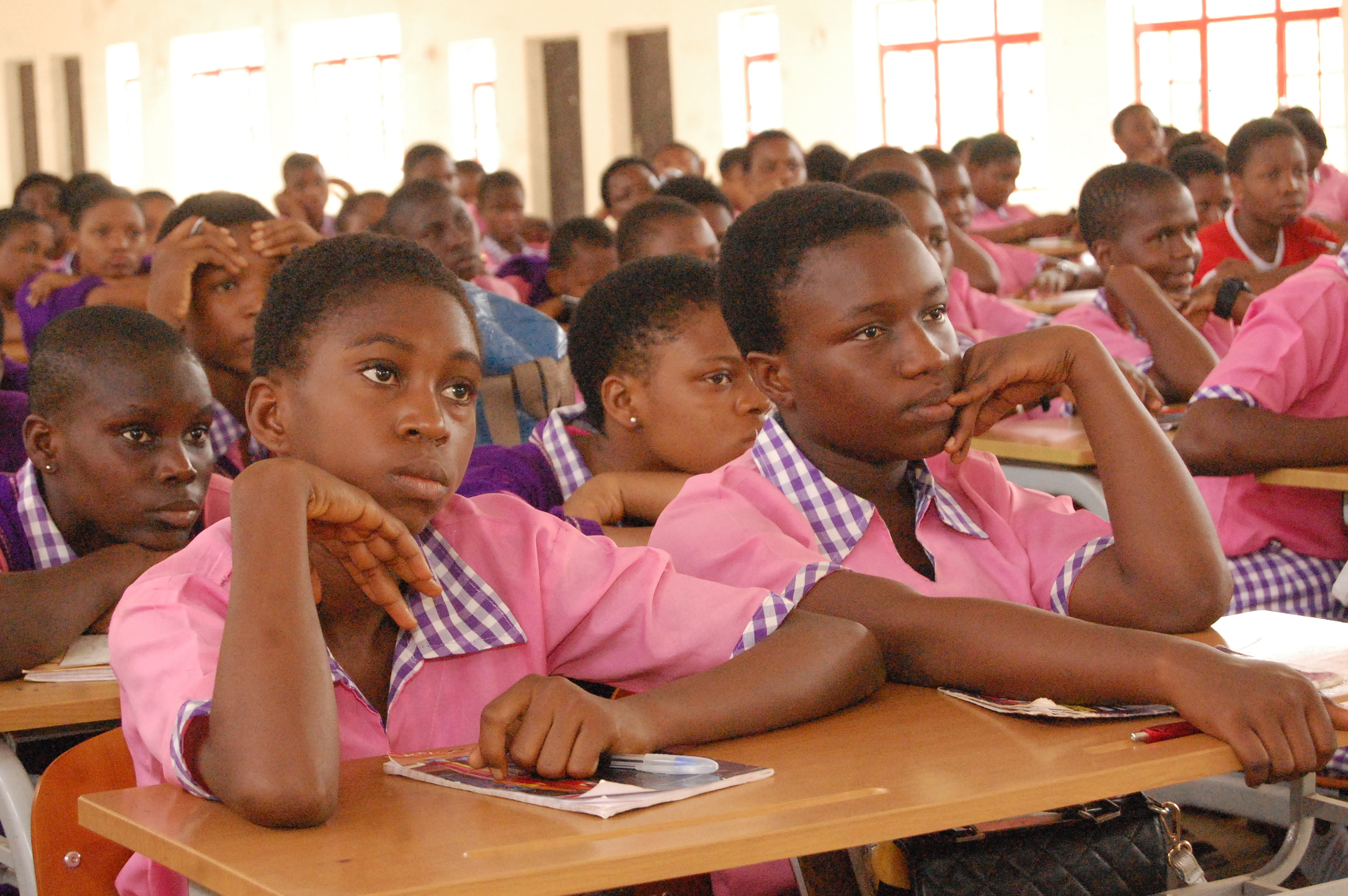 Idia College girls paying rapt attention during the presentations.
