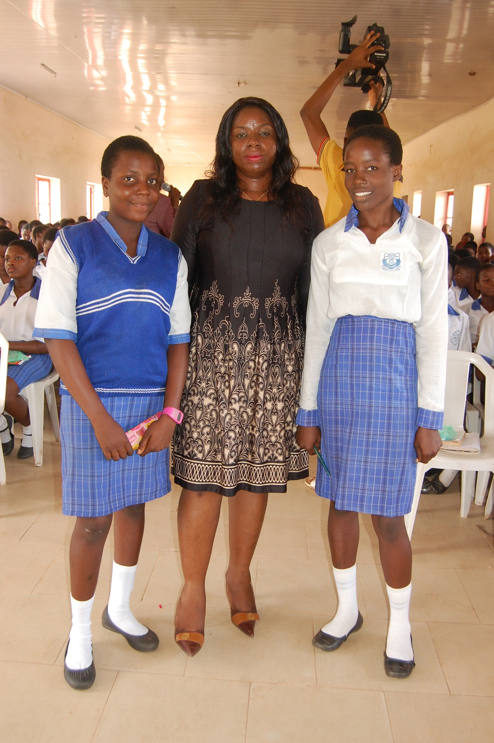 CEO CL-GEYEF with the Head Girl and Assistant Head Girl of Iyoba Girls College